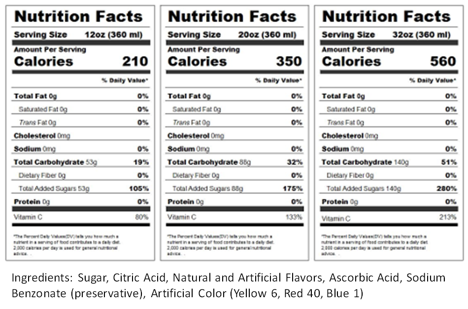 Georgia Peach Nutrition Label